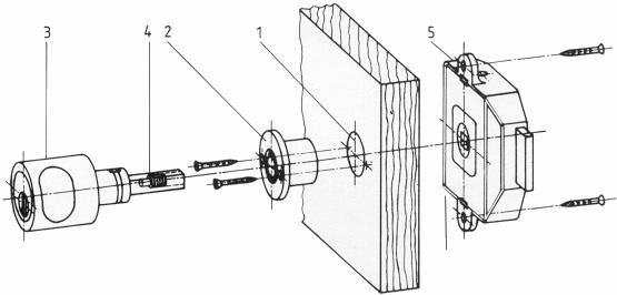 3551 Dreholive mattnickel mit Zylinder fuer Moebelschloesser