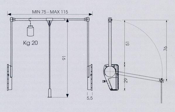 kleiderlift super 12 20 kg 830 mm. Black Bedroom Furniture Sets. Home Design Ideas