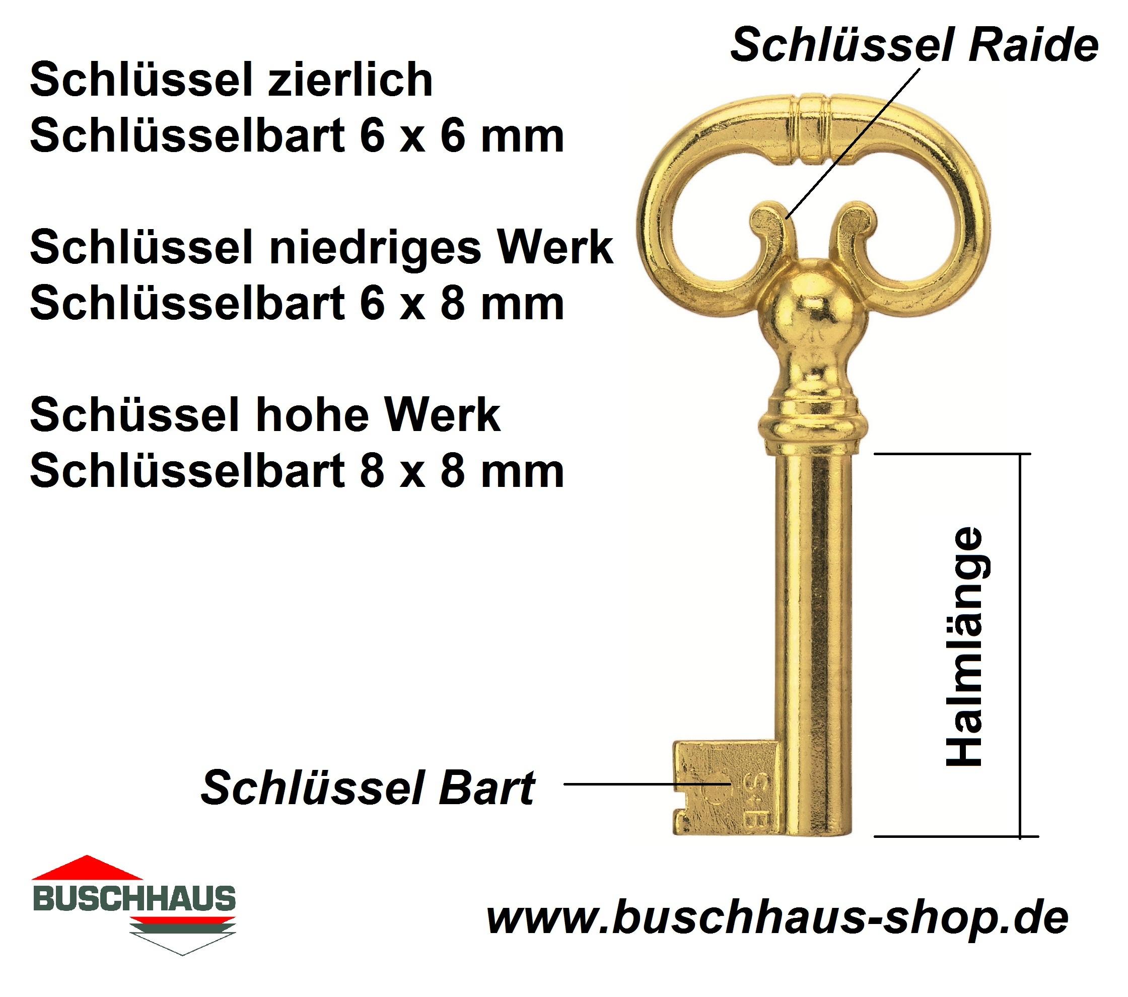 Barthöhe 8 mm JuNie Bartbreite 8 mm Möbelschlüssel 2